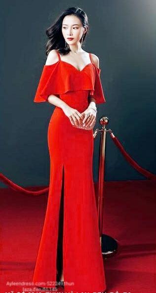 Đầm dạ hội xẻ tà 2 dây có phủ tay che khuyết điểm