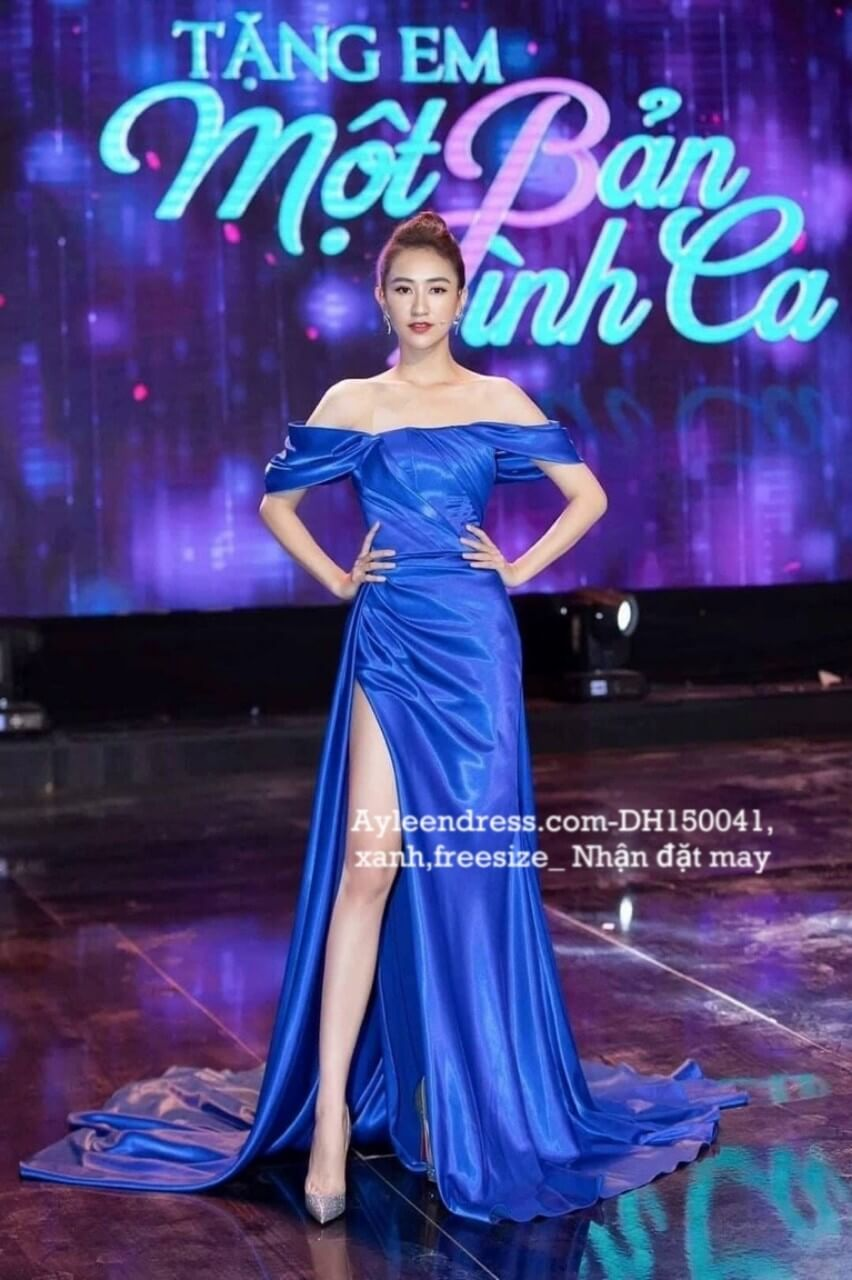 Đầm dạ hội cao cấp trễ vai xanh coban sang trọng