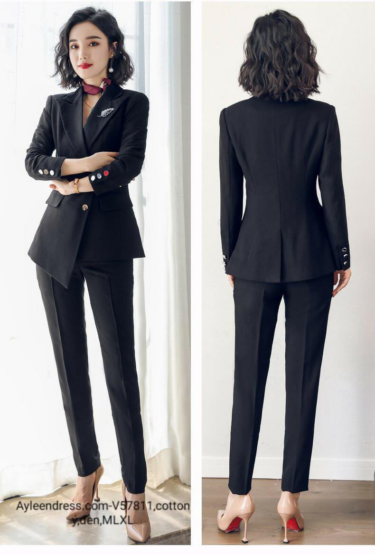 Set vest tà áo cách điệu 2 nút quần dài