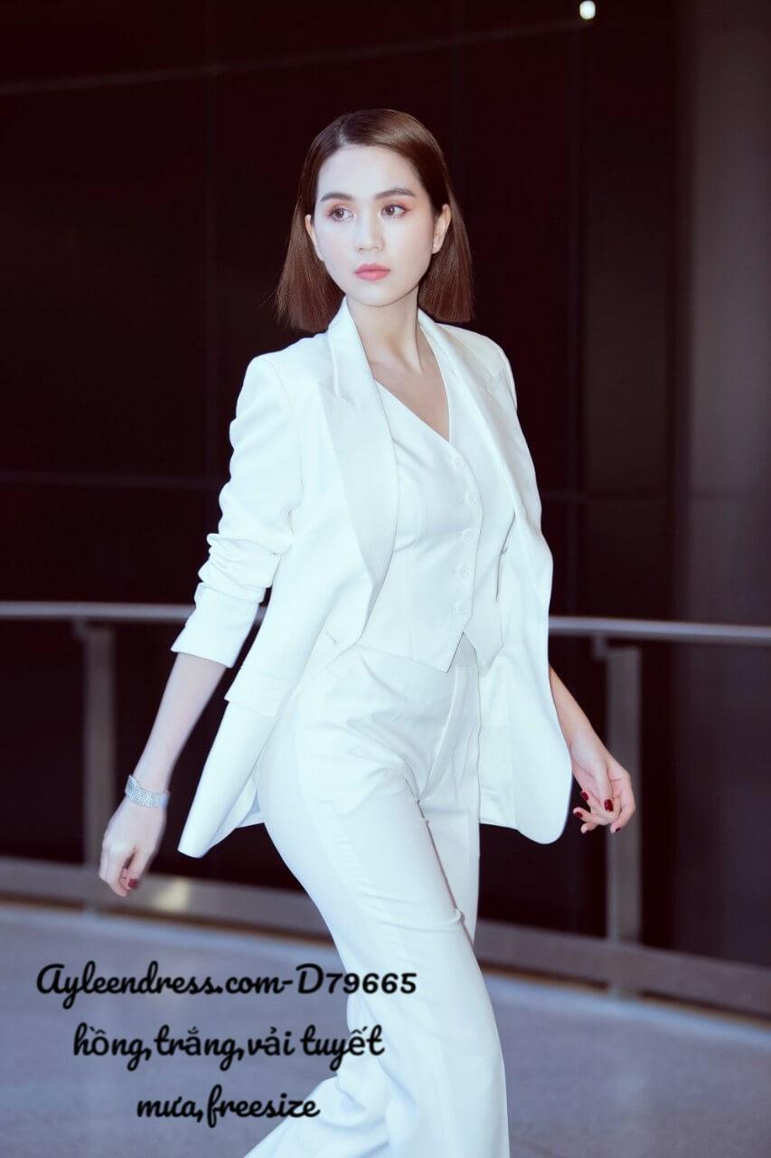 Set vest doanh nhân kiểu áo vest tay dài kèm áo trong quần tây
