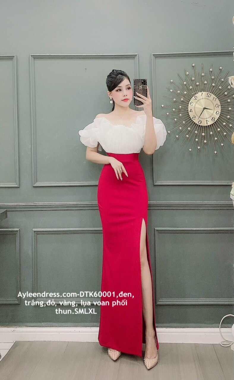 Đầm dạ hội thiết kế bèo tay phối màu trẻ trung