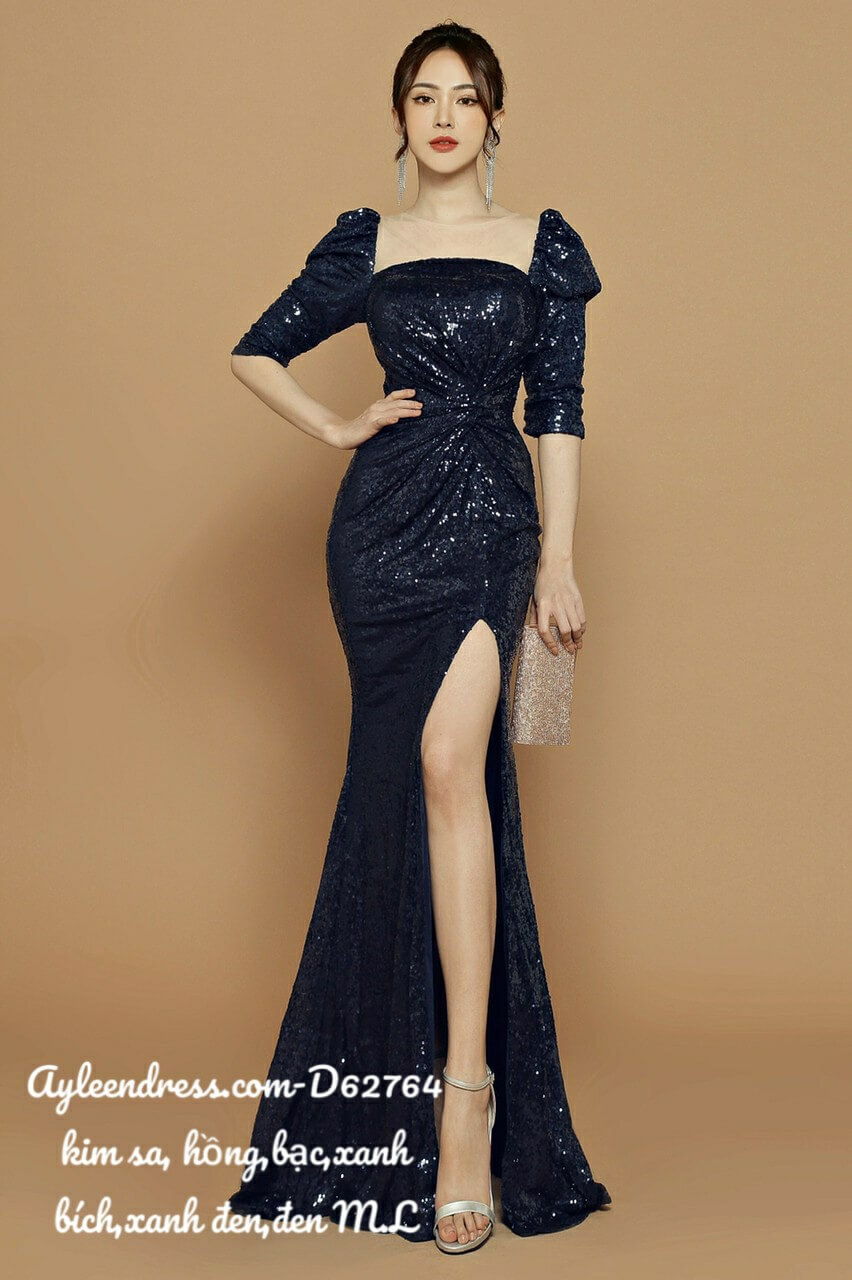 Đầm dạ hội kim sa xoắn eo tay lỡ