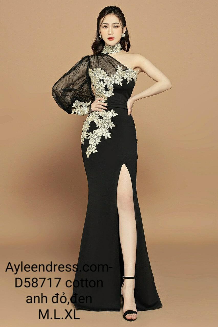 Đầm dạ hội một vai dài tay