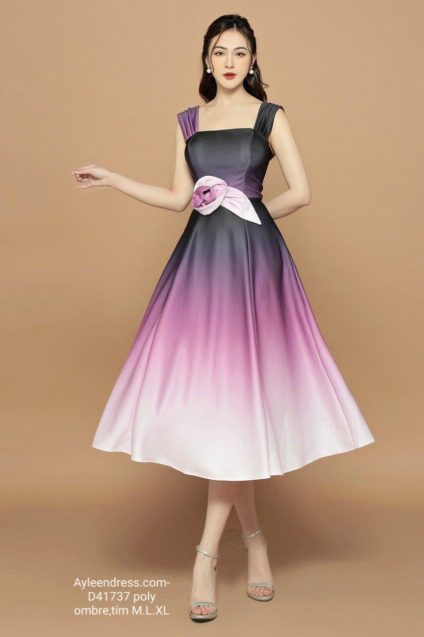 Đầm Ombre hai dây cổ vuông đính hoa eo
