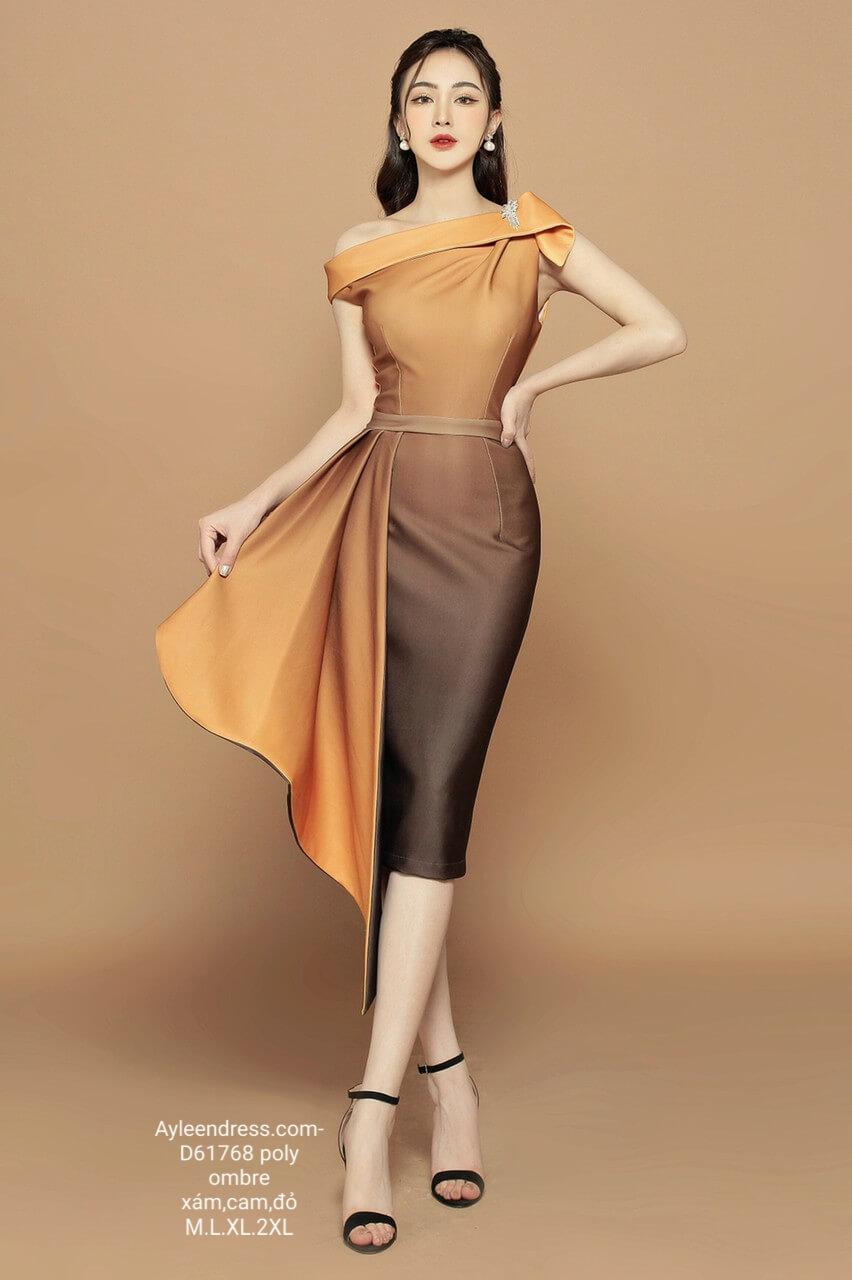 Đầm ôm body Ombre nhúng bèo lệch vai (không kèm tag vai)