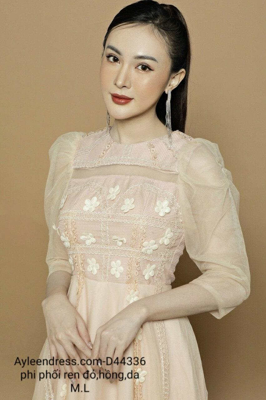 Đầm xoè công chúa tay lưới ren 3D