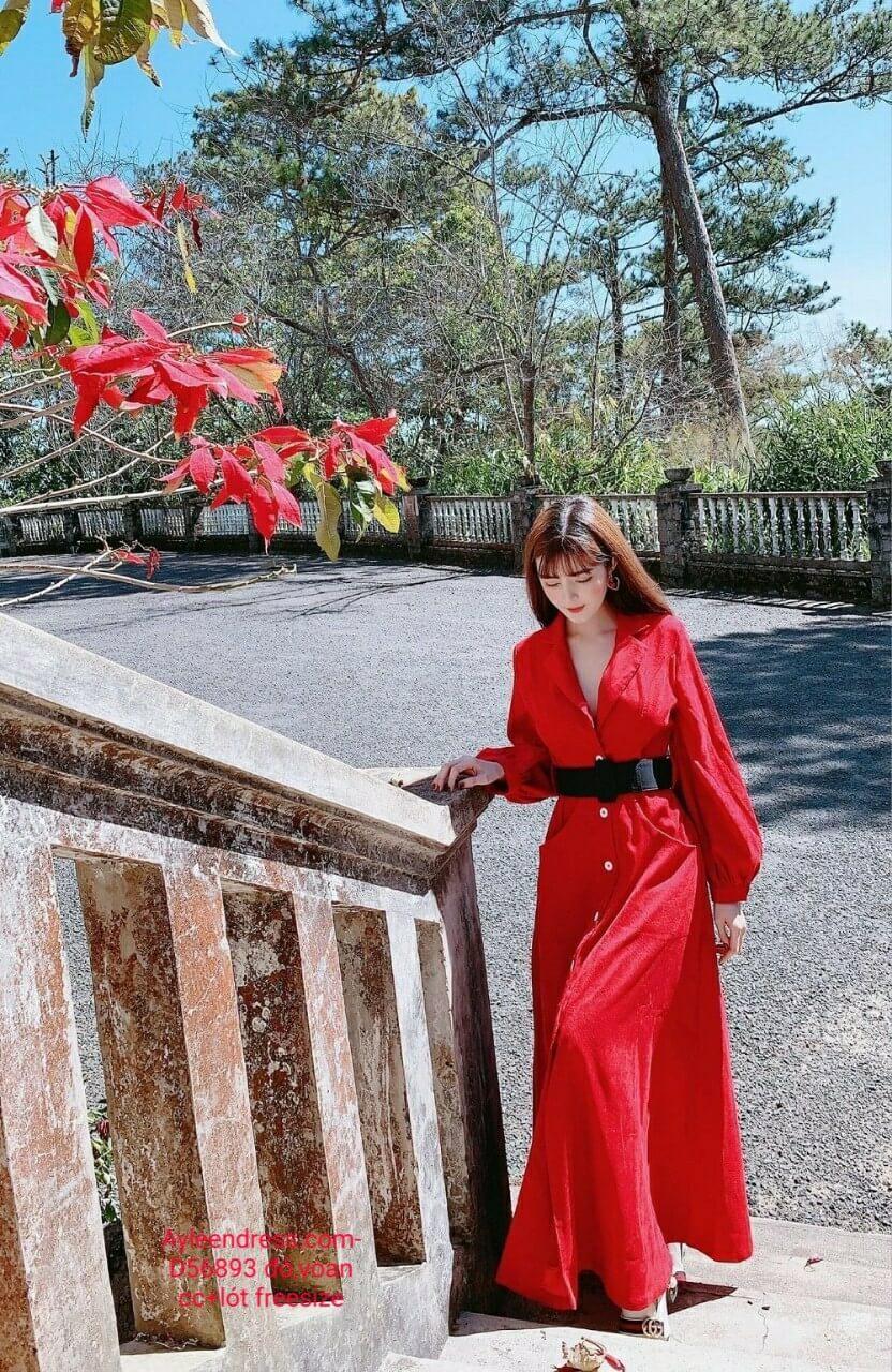 Đầm dạ hội kiểu cổ sơ mi tay dài phồng sang trọng