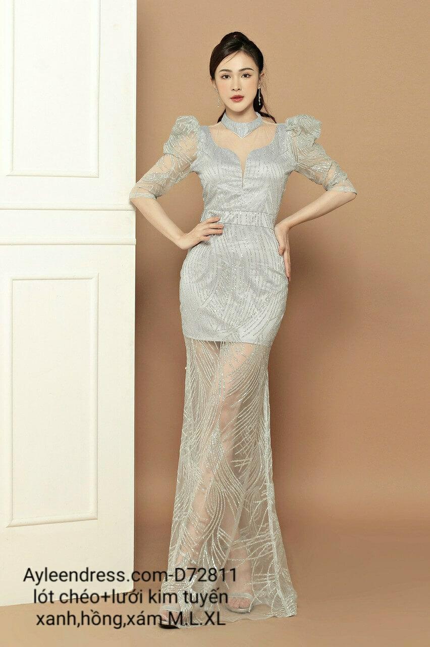 Đầm dạ hội lưới kim tuyến tay dài