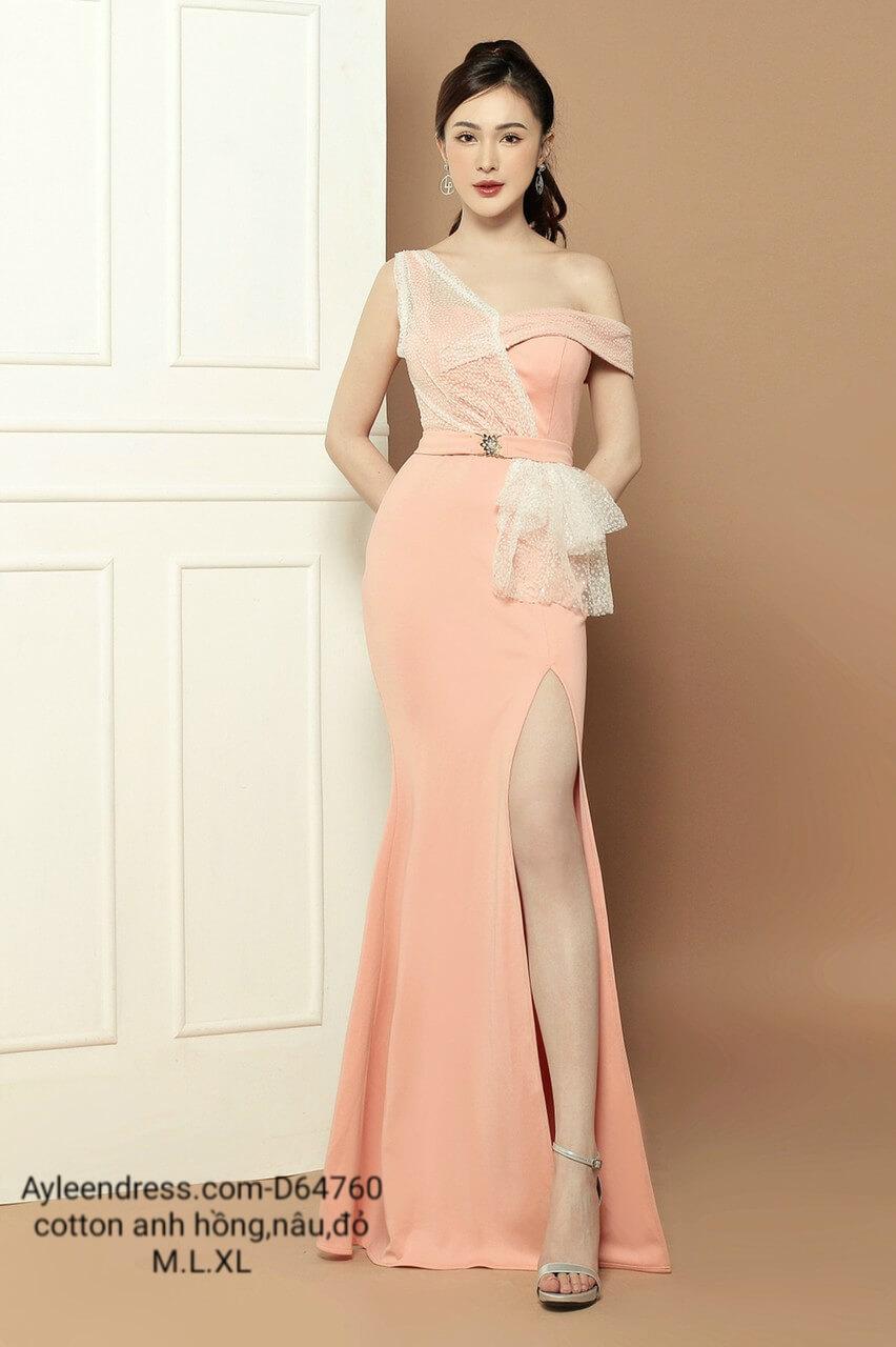 Đầm dạ hội lệch vai phối lưới kim tuyến