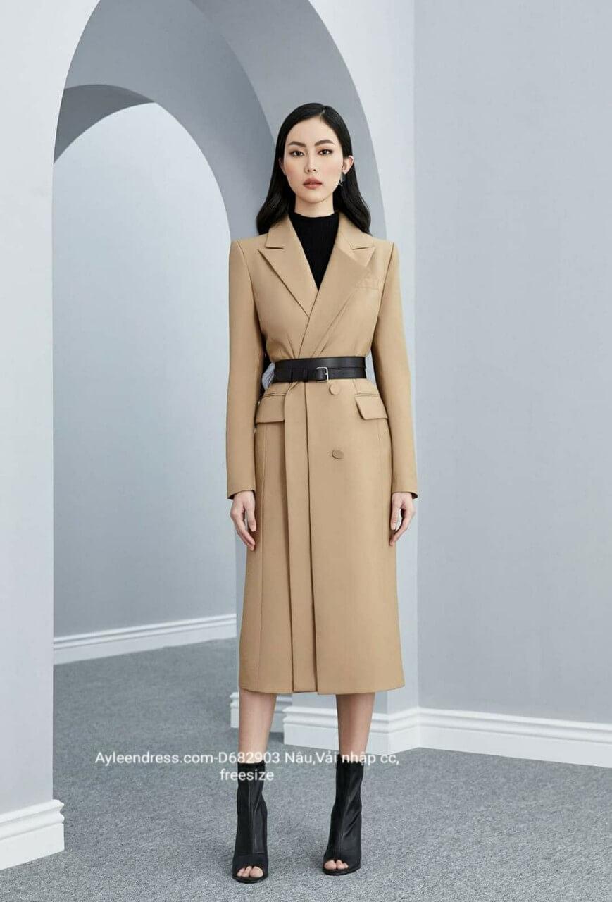 Áo khoác dài dáng vest hai lớp phối túi