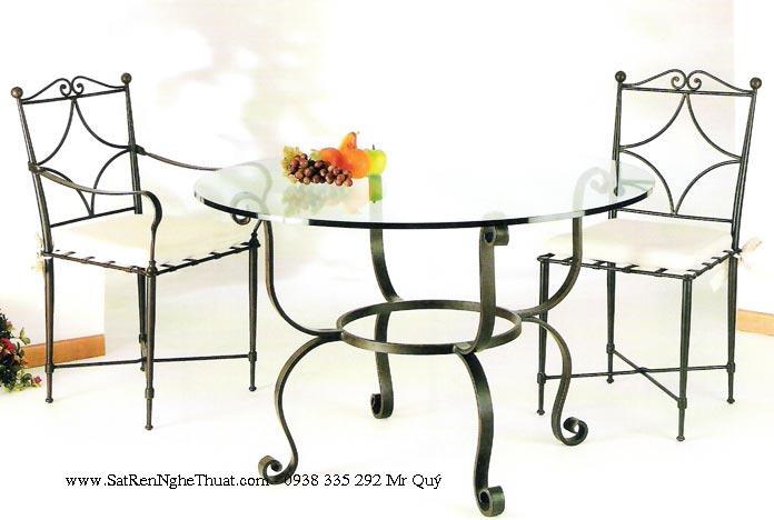 Bàn ghế sắt rèn nghệ thuật - SRNT-BG0011