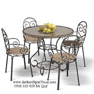 Bàn ghế sắt rèn nghệ thuật - SRNT-BG0014