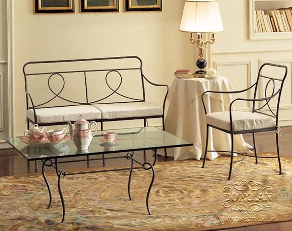 Bộ bàn ghế sắt rèn nghệ thuật SRNT-BG0016