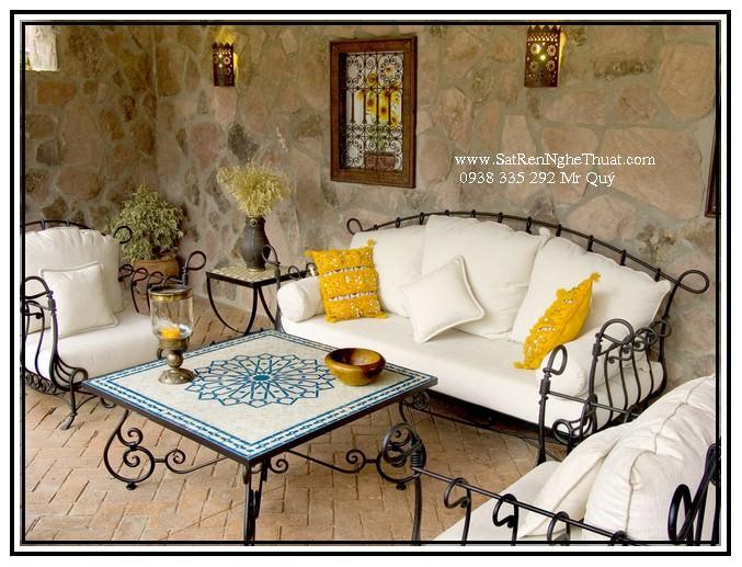 Bộ bàn ghế sofa sắt rèn mỹ thuật BGNT008