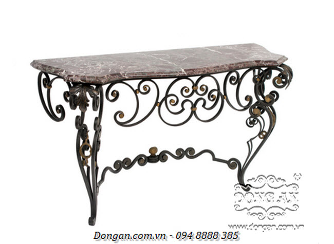 French Louis XV Style Wrought Iron Console Table