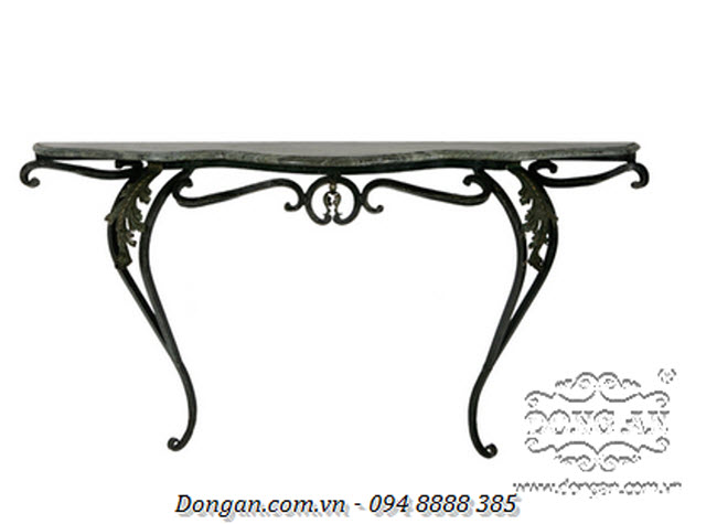 Marble-topped Iron Console Table