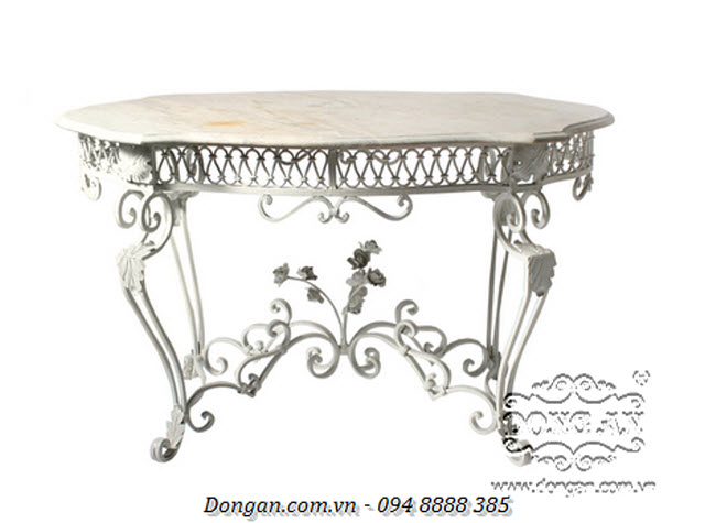 White Iron Console With Marble Top