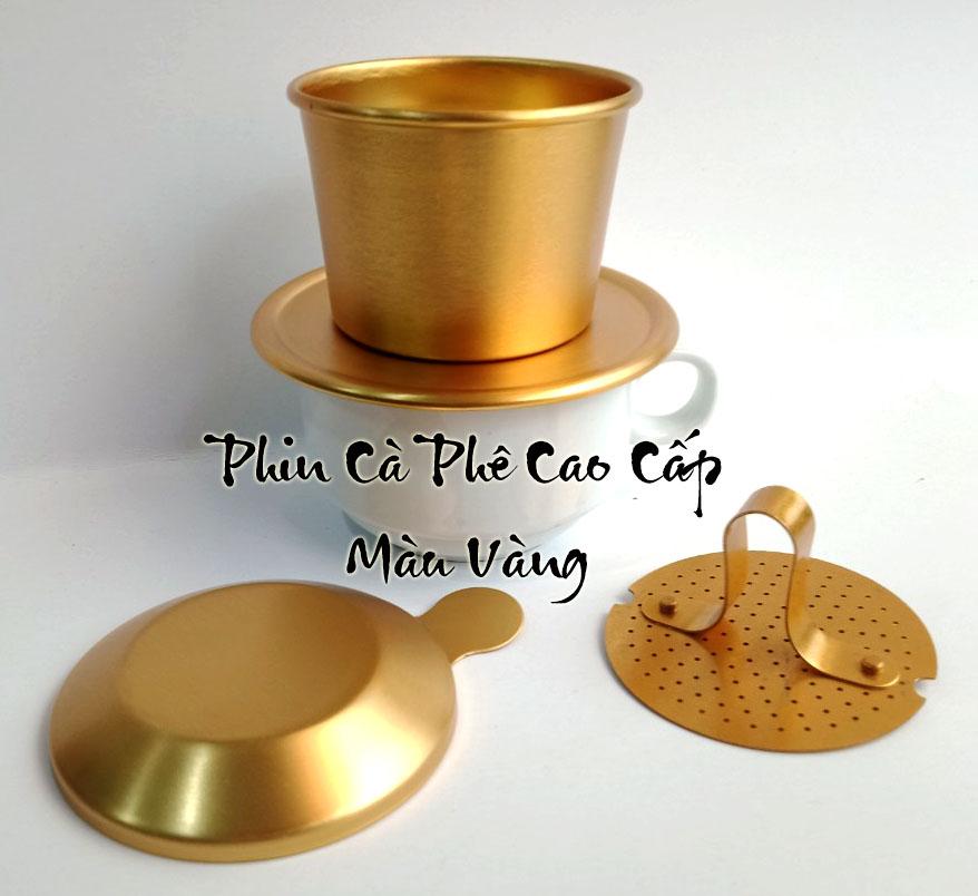 Phin cafe nhôm cao cấp màu vàng