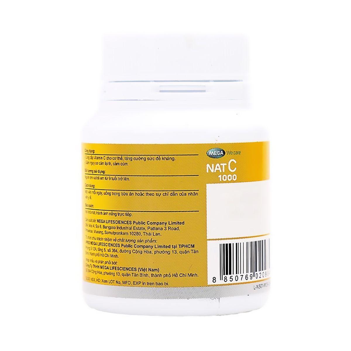 Viên Uống Bổ Sung Vitamin C Nat C 1000 Mega We Care 30 Viên