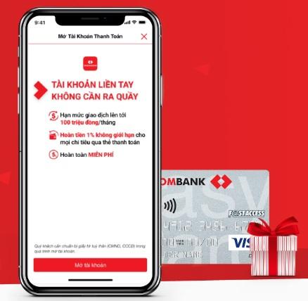 Mở tài khoản trực tuyến miễn phí Ngân hàng Techcombank