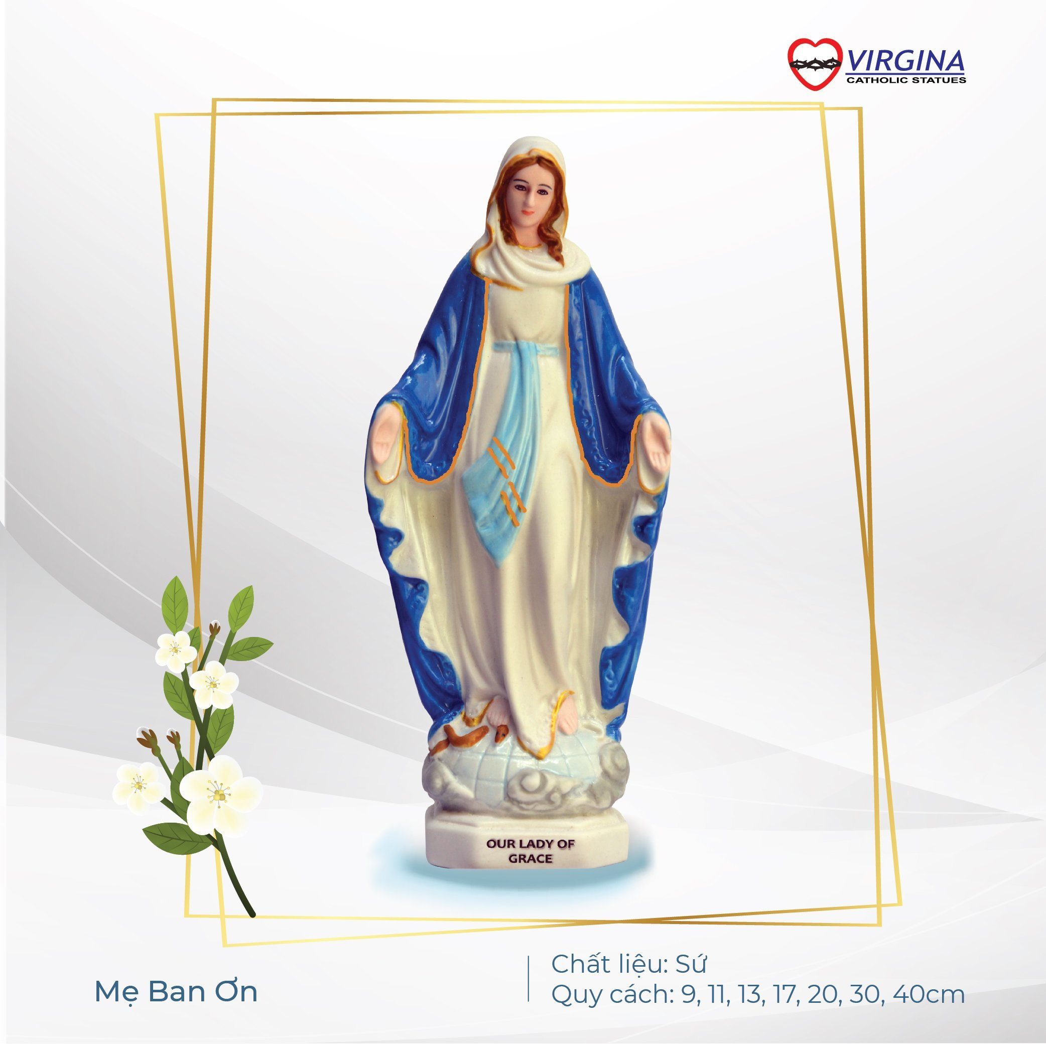 Tượng Sứ - Đức Mẹ Ban Ơn 13cm