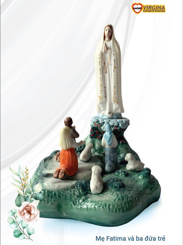 Tượng sứ - Mẹ Fatima và ba đứa trẻ - 20cm