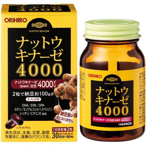 Viên uống ngăn ngừa đột quỵ 4000FU Nattokinase Orihiro Nhật Bản lọ 60vien