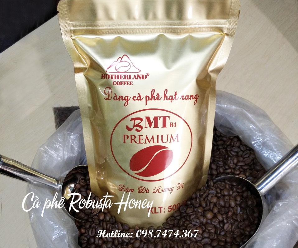 Cà phê robusta honey rang mộc gói 500g