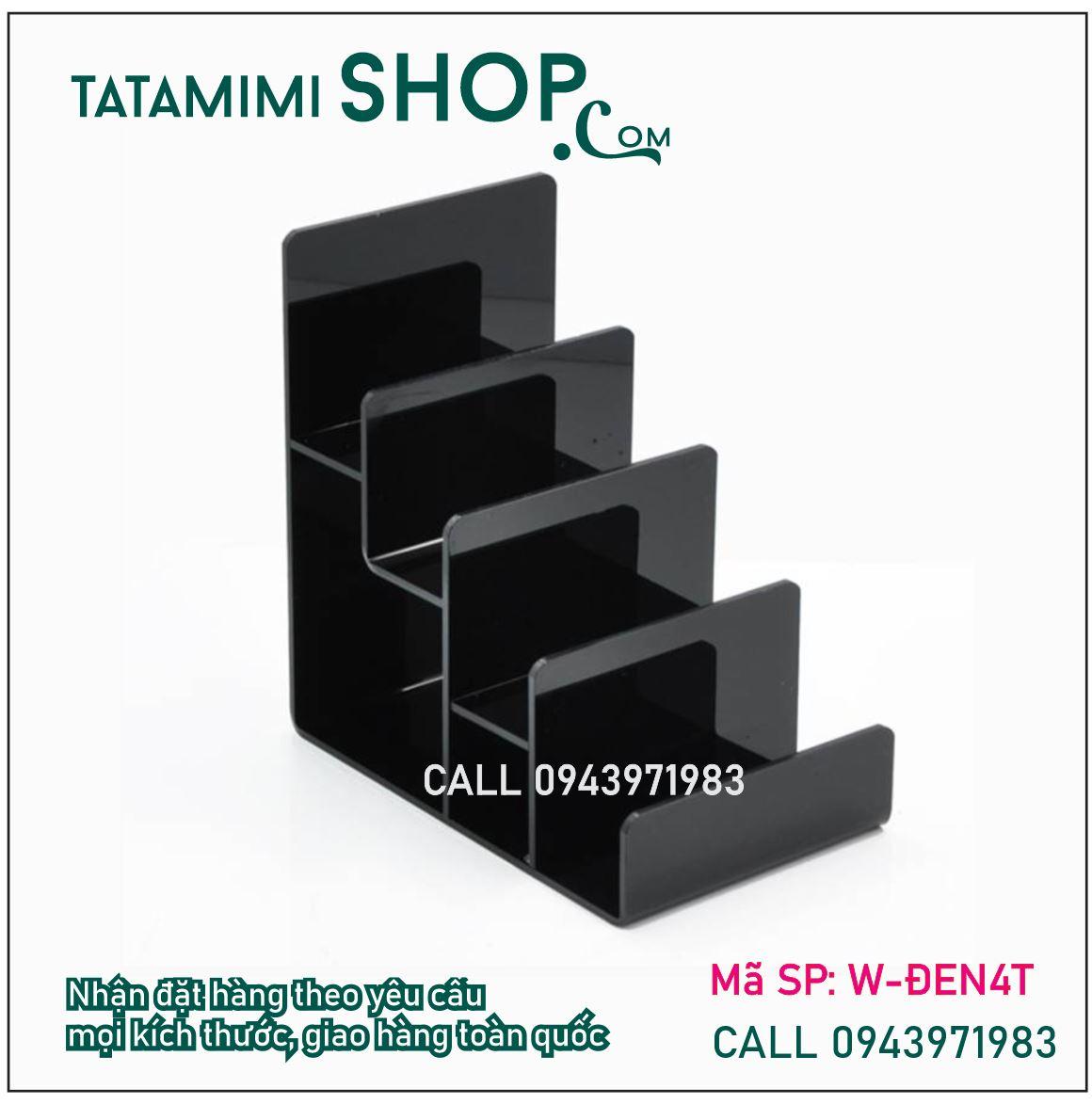 Kệ ví mica đen 4 tầng 2MM | TATAMIMISHOP.COM