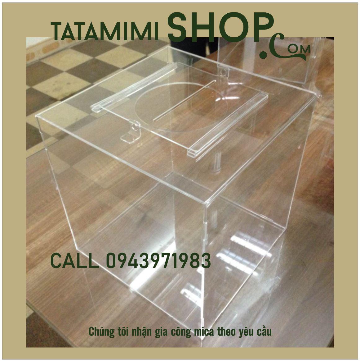 Thùng mica bỏ phiếu kích thước 40x40x40 (cm)-Loại 2MM   TATAMIMI SHOP