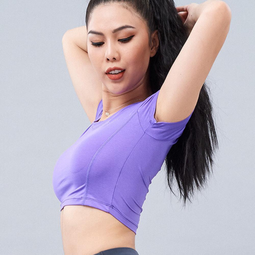Áo Croptop tập gym, Yoga nữ MM25 - AHA Sport