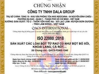 DALAHOUSE ĐẠT CHỨNG NHẬN ISO 22000:2018