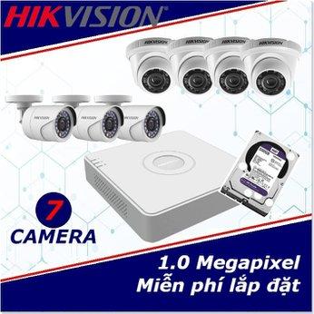 Camera Trọn Gói 7 Camera HIKVISION 1mp HD