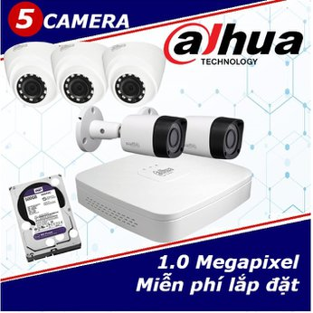 Camera Trọn Gói 5 Camera DAHUA 1.0mp