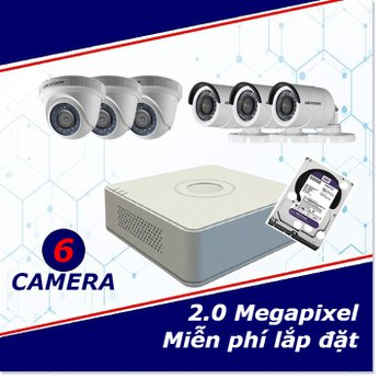 Camera trọn gói 6 camera 2 mp full HD
