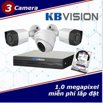Camera Trọn Gói 3 Camera KBVISON 1.0mp