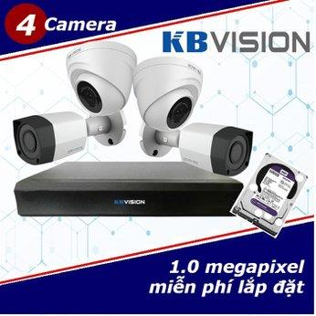 Camera Trọn Gói 4 Camera KBVISON 1.0mp