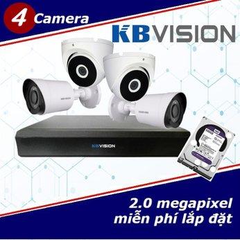 Camera Trọn Gói 4 Camera KBVISION 2.0mp