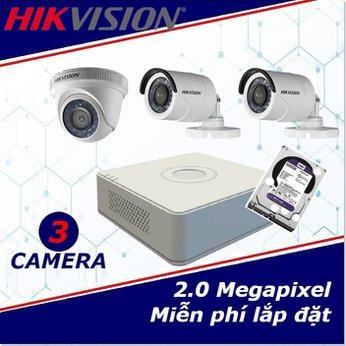 Camera trọn gói 3 camera HIKVISION 2 mp full HD