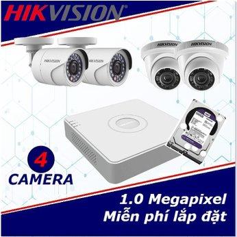 Camera Trọn Gói 4 Camera HIKVISION  1mp HD