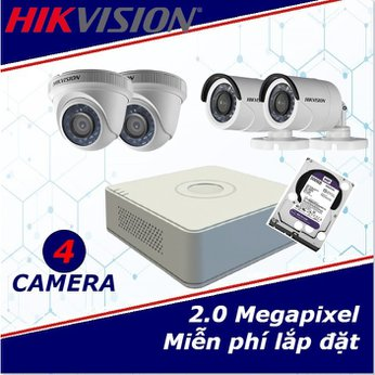 Camera trọn gói 4 camera HIKVISION 2 mp full HD