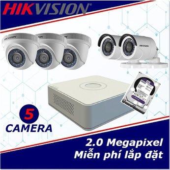 Camera trọn gói 5 camera HIKVISION 2 mp full HD