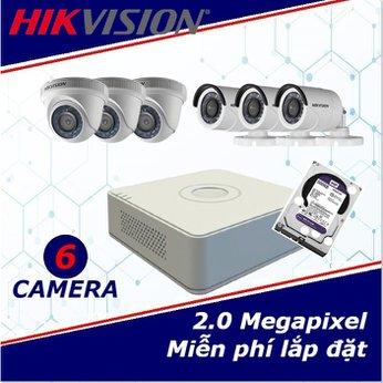 Camera trọn gói 6 camera HIKVISION 2 mp full HD