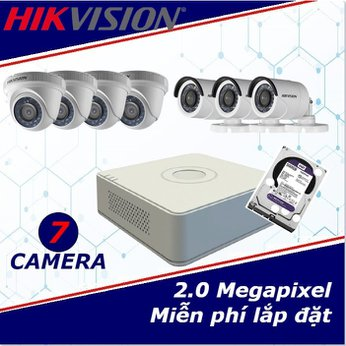 Camera trọn gói 7 camera HIKVISION 2 mp full HD