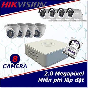 Camera trọn gói 8 camera HIKVISION 2 mp full HD