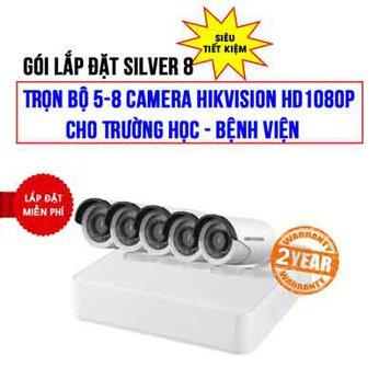 Trọn bộ 5-8 camera Hikvision HD1080P cho Trường học – Bệnh viện (Gói Silver 8)