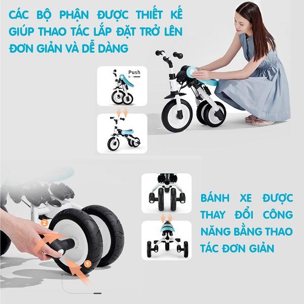 Xe đẩy gấp gọn Nadle 3in1 - có thể làm xe chòi chân, xe đạp ba bánh cho bé yêu