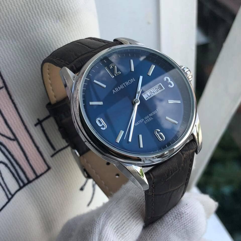 Đồng hồ nam ArmitronDay/Date Function Dial Croco-Grain Leather Strap Watch