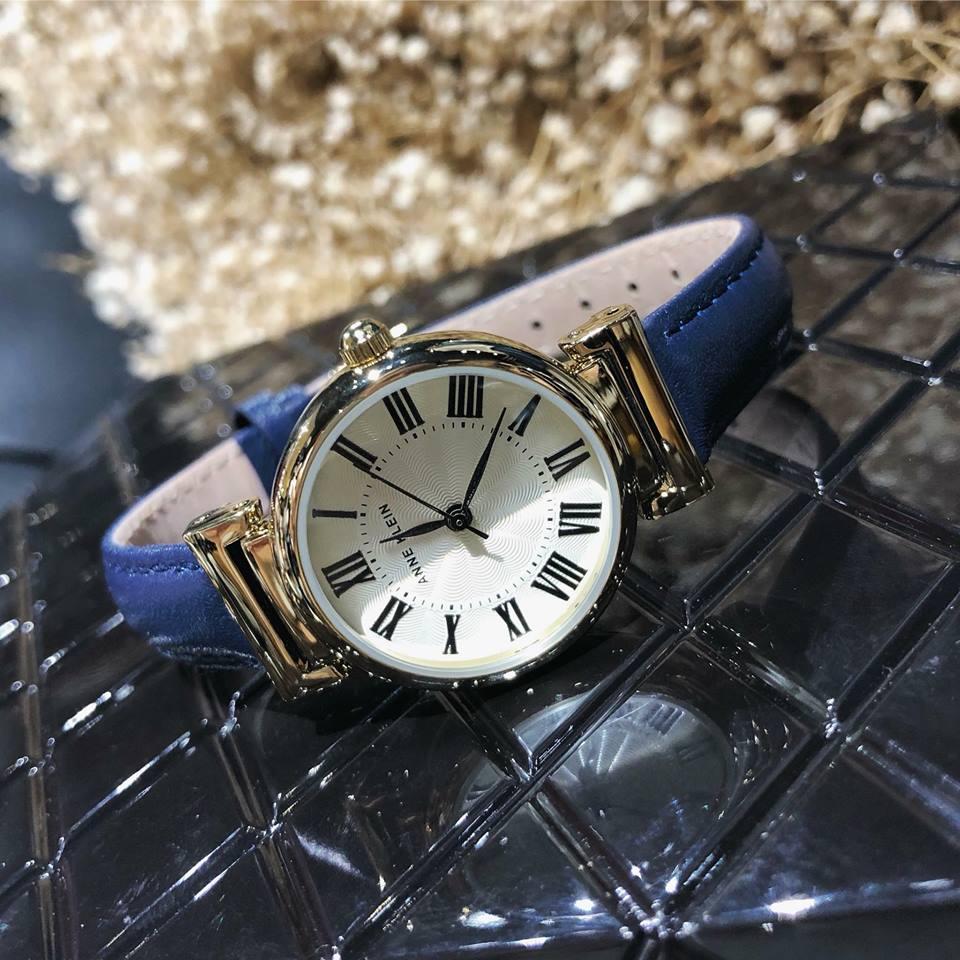 Đồng hồ nữ dây da xanh Navy Anne Klein AK2246CRNV