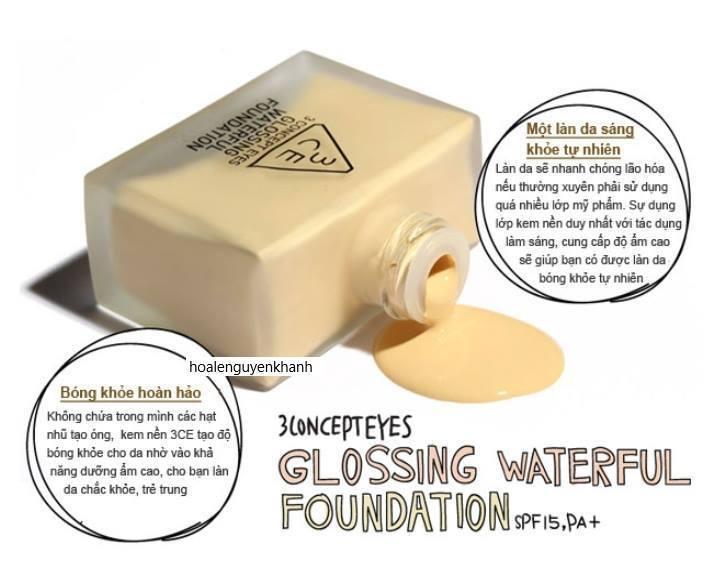 Kem nền 3CE Glossing Waterful Foundation
